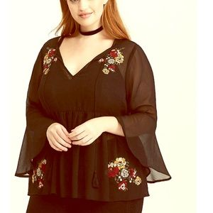 Torrid Embroidered Chiffon Bell Sleeve Blouse